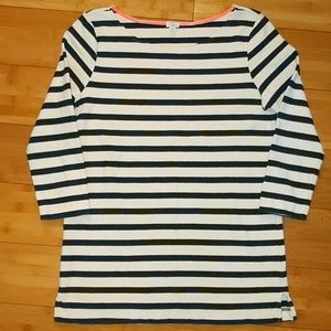 J. Crew xs navy striped 3/4 sleeve shirt